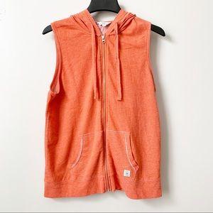 Lucky Lotus Orange Zip Hooded Vest